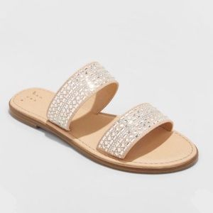 A New Day Embellished Slide Sandals Size 11, NWT